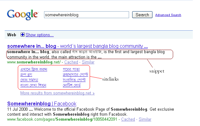 snippet & sitelinks of a normal search result